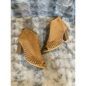 CL by Laundry Brown Ankle Boots Chunky Heels